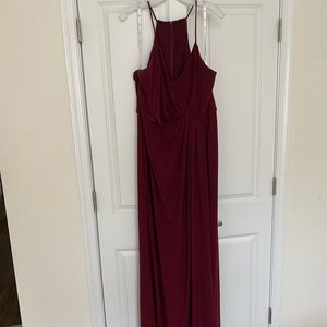 Plus Size Maroon Long Dress